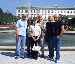 Son Mike, Kay (his partner) Me, Howard (my brother),Clare (John's partner) & son John. Taken 17/7/09 in Mirabell Gardens - July 2009