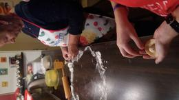 Filling our pierogie dough with their filling. , Heather H - October 2017
