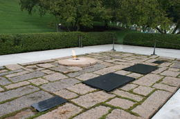 J F Kennedy, his wife and two of his children's resting place, with the eternal flame , NINA W - September 2012