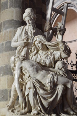 Marble pieta inside the Duomo of Orvieto. , Louis M - February 2016