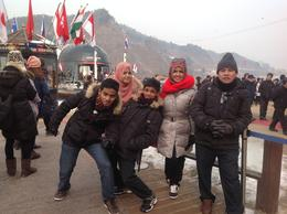 The kids and papa on Nami embankment. , Samsiah A - January 2014