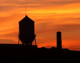 Sunset over Ellis Island - Iconic Water tower imagery , Clive S - September 2015