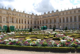 A view of the gardens and flowers behind the left side of the chateau. , Jeff & Kathy - July 2012
