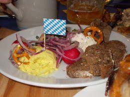 A side dish I ordered - three Bavarian cheeses served with black bread. , Jennifer N - October 2016