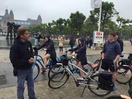 First stop in the Museum district on a 12K bicycle tour of Amsterdam. That's our tour guide on the left. Cold and rainy weather did nothing to take away from a great day wheeling around the city. , Ellen M - July 2015