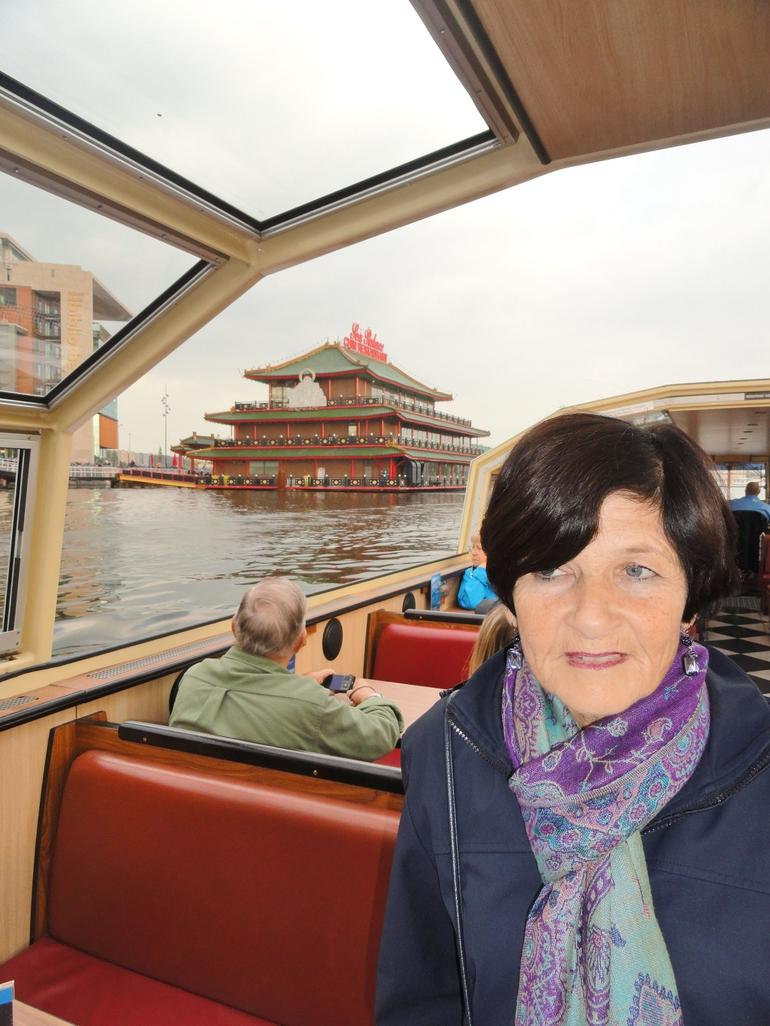 Floating Chinese Restaurant in Background in Main harbour - Amsterdam