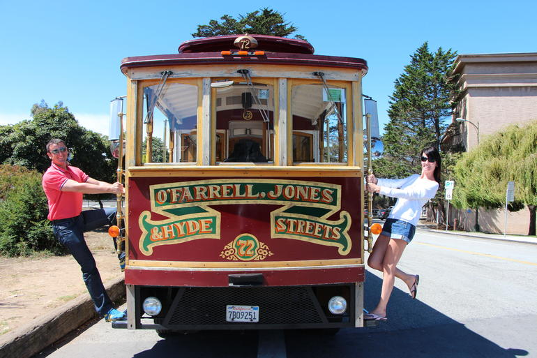 Fun on a Trolley Bus at the Palace of Fine Arts - San Francisco