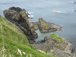 Hiking on the edge of a cliff in Northern Ireland, by the Causeway Hotel. , Michelle K - September 2012