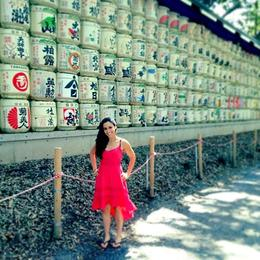 Asha in front of barrels of sake at Meiji Shrine, Asha & Brock - July 2013