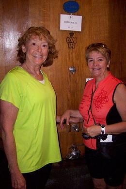 Inside the winery in front of a huge barrel! , Helen K S - June 2013
