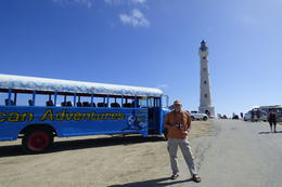 California Lighthouse with the colorful Pelican Adventure bus , Rosario F - March 2017