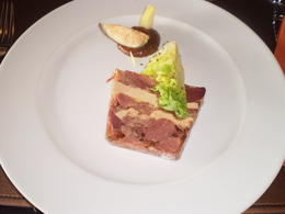 Terrine with baby cos lettuce, fig puree, fresh fig and pear...from memory. , Amy L - August 2011