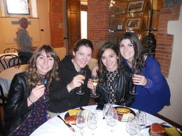 Ayla, Aoife, Saige, and Nicole enjoying the wine tasting in the Chianti region of Tuscany. , Nicole T - May 2013