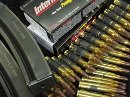 This is a small sampling of the environmentally friendly ammo we enjoyed. No lead and recycled casings and belts. Cool!, Jeff - October 2010
