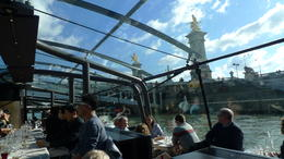 Eating lunch in Paris with the Seine river cruise , Petra O - November 2012