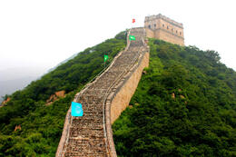 Climbing up the Great Wall at Badaling - August 2013
