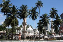 Famous mosque behind the palms in Kuala Lumpur, Malaysia - Masjid Jamek - July 2011
