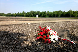 While the original bunkers at Dachau were removed, the memorial site outlines where the 34 buildings stood. Someone had laid flowers on one of the memorial markers, which was one of many throughout..., Caitlin B - May 2015