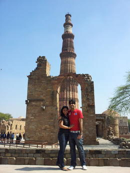 Us outside Qutub Minar in New Delhi - July 2014
