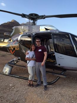 Gillian and Mark on their first trip to USA thanks to Mark and Gemma. First time in a helicopter - fantastic! , Gemma T - December 2015