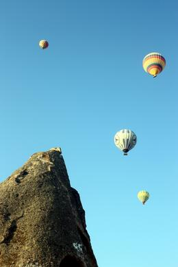 The hot air balloons drifted over our hotel in the morning, Peter - October 2010
