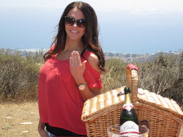 Celebrating with a little toast...Not a bad view! oh, the ocean backdrop too : , jjoslin55 - June 2015