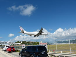 Air France A340 landing in St Maarten (Dutch part of island) , Rosemary G - February 2015