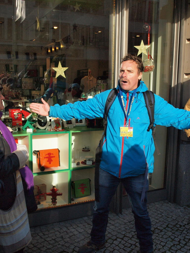 Our Tour Guide outside the Ampelman Store - Berlin