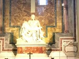 The Pietà (1498–1499) is a world-famous work of Renaissance sculpture by Michelangelo Buonarroti, housed in St. Peter's Basilica, Vatican City , Frances F - September 2014