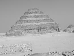 Black & white picture of the Step Pyramid. - March 2008