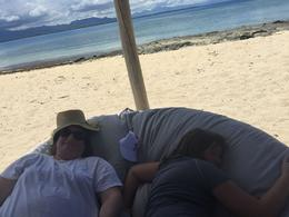 Relaxing in the shade on Tivua Island after snorkeling , Amy L P - December 2016