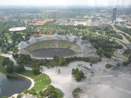 Looking down onto Olympiapark from the high Olympic Tower , Thomas E - June 2011