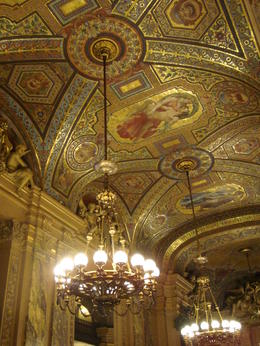 One of the beautiful ceilings in the Opera Garnier building, Emily - March 2013