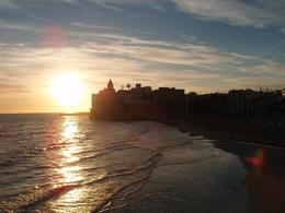 The sun sets over the water in Sitges. - January 2008