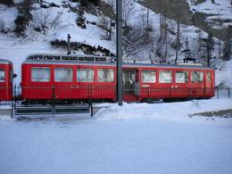 Train leaves Montenvers station in Chamonix and travels up to the Mer de Glace glacier. Spectacular views down the valley on the way., Marie W - December 2009