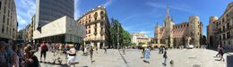 This is a historic square in Barcelona, Picasso's sketches put up by another artist on the facade of the building on the left. On the right is the Barcelona Cathedral. , Chandan M - July 2016