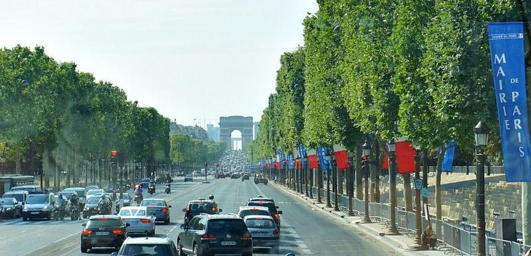 Arc de Triomphe captured from my lens inside the tour bus - Paris
