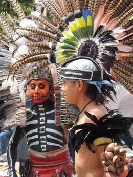 Aztec dancers in the Zocalo of Mexico City. , Kevin F - May 2013