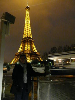 Fay enjoying the river cruise with the Eiffel tower lit up in the background , Fay N - January 2011