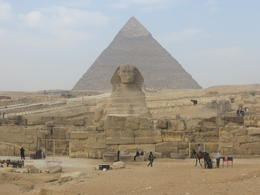 Looking back at the Sphinx with the Great Pyramid in the background. , Andrew K - January 2014