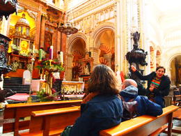Our guide pointing out the mix of Muslim and Christian architecture, Rachel - January 2014