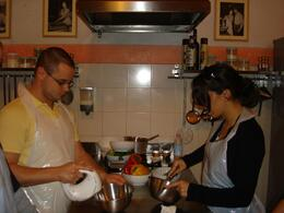 Adela and Gary whipping up dessert! - November 2008
