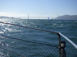 A view of the Golden Gate Bridge over the railing. What a beautiful sight. , Stephen L - September 2015
