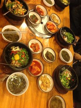 We awere taken to a Korean restaurant in Insadong for lunch. We had a bowl of piping hot and mouth watering Korean bimbimbap (rice + vegetable + egg) with an assortment of kimchi delights. , Samsiah A - January 2014