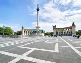 The statue of Archangel Gabriel in Heroes' Square, Budapest, Hungary - May 2011