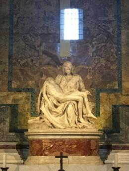 The amazing Pieta, now kept behind protective glass after someone attacked and damaged it , Julia E - August 2016
