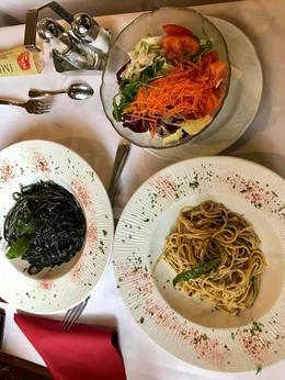 Black Pasta Made With Squid Basil and Garlic Spaghetti and Mixed Salad , NATALIE A - November 2017