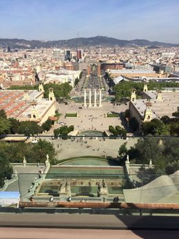 Plaza de Espana from MNAC roof terrace, SCV - April 2015