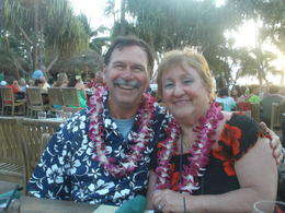 My husband and I having a great 1 yr anniversary celebration at the luau. , Jan L - April 2014