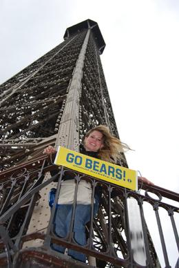 Jessica on the Eiffel Tower. She brought Oski and a Go Bears sign from CAL to take around Paris as this trip to Paris was her graduation present from UC Berkeley. - June 2008